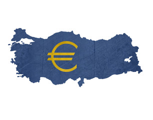 European currency symbol on map of Turkey