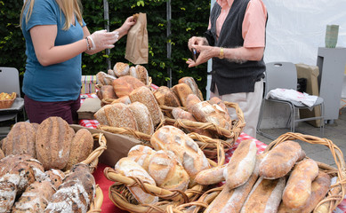 Sale of Bread at Farmers Market