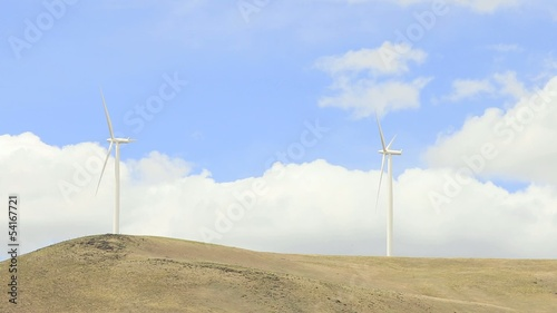 Wind Turbines Timelapse with Clouds in Washington