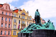 Statue and historic buildings of Old Town Square, Prague