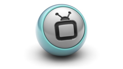 tv icon on ball. Looping.