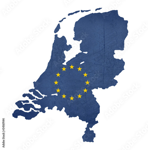 European flag map of Netherlands