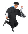 Asian university student in graduation gown