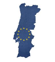 European flag map of Portugal