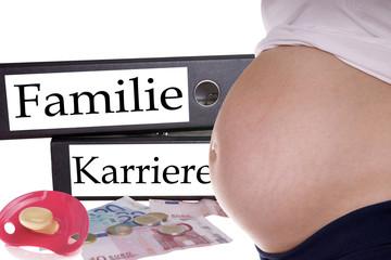 schwangere Frau mit Aktenordner Familie / Karriere