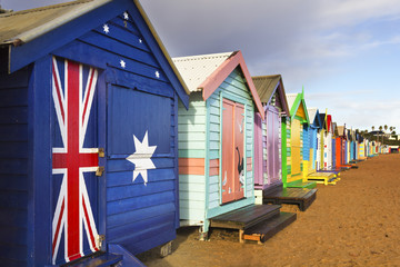 Brighton bathing boxes in a row