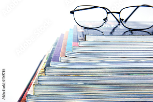 magazine stackon white background