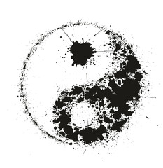 Grunge Yin Yan symbol made of black ink splashes,vector