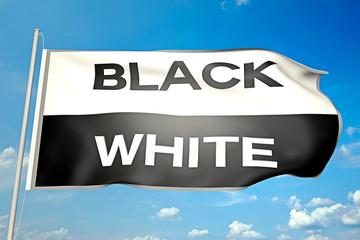Fahne mit Aufschrift_Black & White - 3D