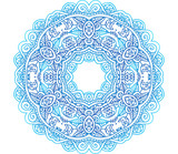 Ornate blue lacy vector circle pattern