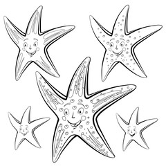 Starfish cartoon. Drawing style black on white.