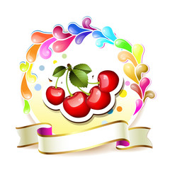 Ripe cherry over design background with ribbon