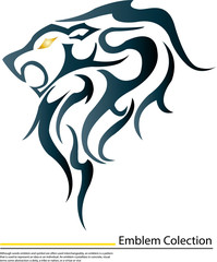 Vector image of an blue lion on white background