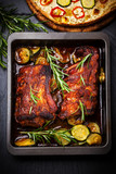 BBQ spare ribs with herbs and vegetables