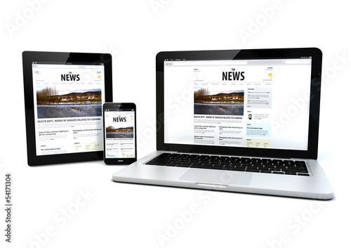 news on a tablet, laptop and phone - 54171304