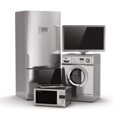 Home appliances. Tv, refrigerator, microwave, laptop and  washin