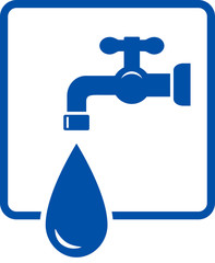 plumbing icon with tap and water drop