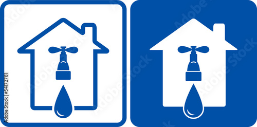 two houses with tap and water drop