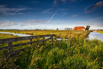 fence and farmhouse in Dutch farmland