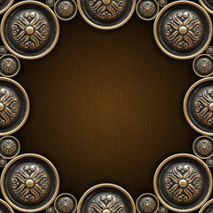 Brass Ornaments on Brown Canvas