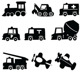 Transportation Icons Set, Vector Illustration EPS 10.
