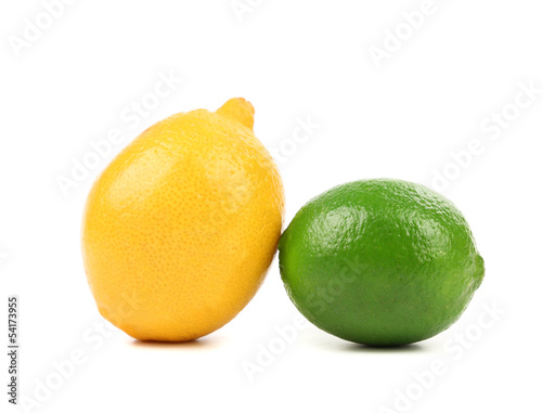 fresh lime and lemon isolated on white