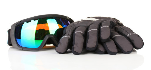 Winter sport glasses and gloves, isolated on white