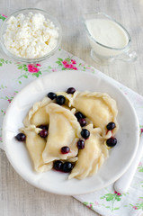 Dumplings with cottage cheese and currant