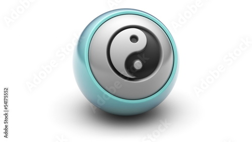 ying-yang icon on ball. Looping.