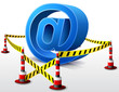 Email symbol located in restricted area with barrier tape