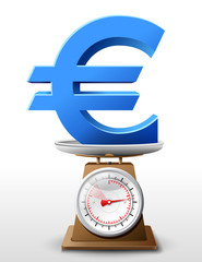 Euro sign on scale pan. Weighing money symbol on scales