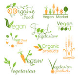 Set of vegan food logo (color)