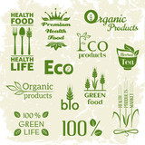 Set of organic products logo (monochrome)