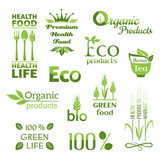 Set of organic products logo (color)