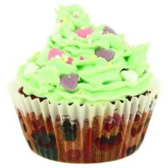 Cupcakes Américain Vert avec coeur
