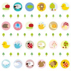 かわいい動物達のパターン