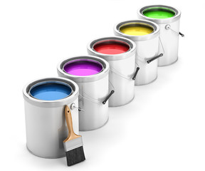 Paint cans and brush isolated