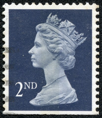 stamp printed in Britain showing Portrait of Queen Elizabeth 2nd