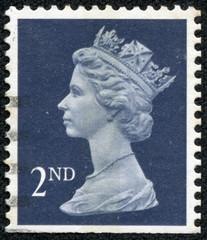 stamp printed in Britain showing Portrait of Queen Elizabeth 2nd