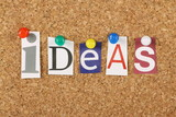 The word Ideas on a cork notice board