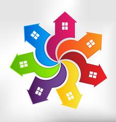 Houses Spiral design element