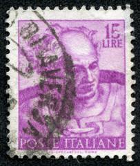stamp shows designs of Michelangelo's Sistine Chapel, Joel