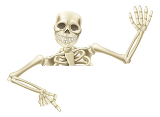 Halloween skeleton pointing