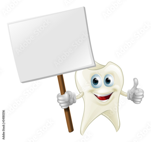 Tooth man holding a sign