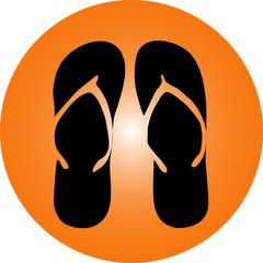 Ferien Logo Flip Flop Vector