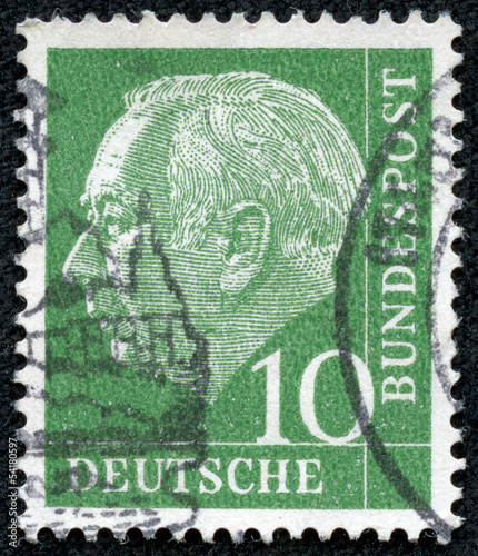 stamp printed in Germany shows Theodor Heuss