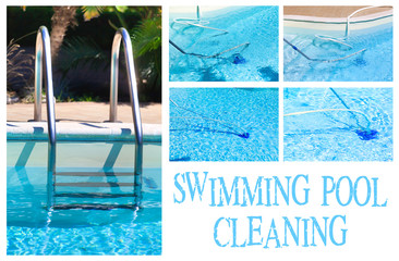 Swimming Pool Cleaning Collage