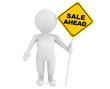 3d person with Sale Ahead traffic sign