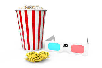 Box of Popcorn, 3D Glasses and an Admit One tickets