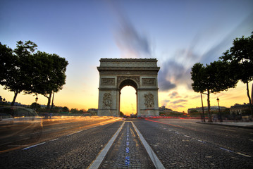 Arc de Triomphe at sunset, Paris